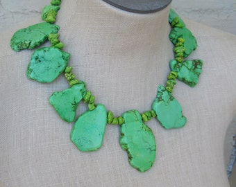 Green Apple  Lime Turquoise Chunk Nugget Necklace