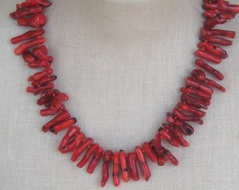 "Red Coral  Chunky Sticks Sapling mane necklace bib ""Lionne"""
