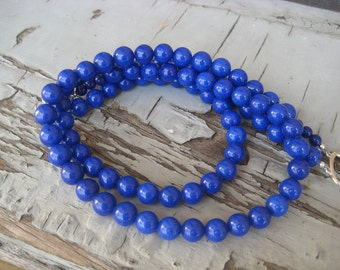 Cobalt Royal Blue Bright Blue Double Strand Necklace Two strand Beaded Gift Box