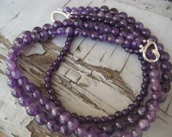 Amethyst Deep Purple triple strand Lavender necklace