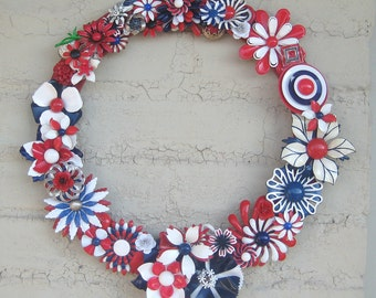 Holiday Wreath Red White Blue Vintage brooch Decor Flower Power Collage Upcycled OOAK Unique Recycled