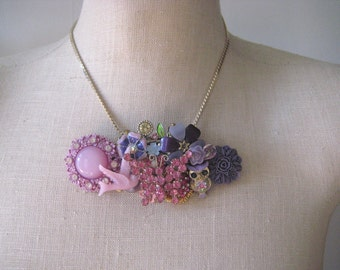 Birds and Butterflies. Lavender Purple Pink Vintage Assemblage Necklace Collage,