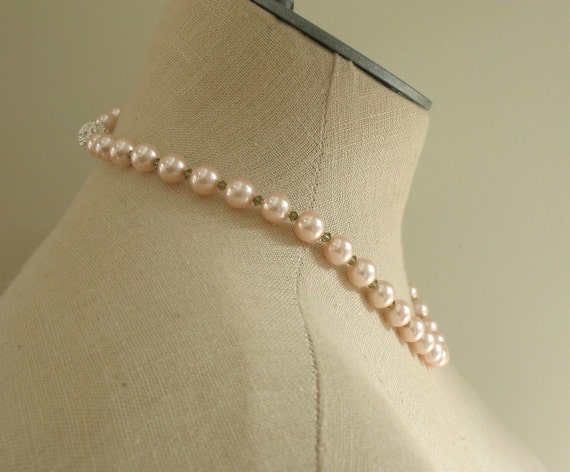 Pale Pink Pearl Peridot Crystal necklace , Sydney