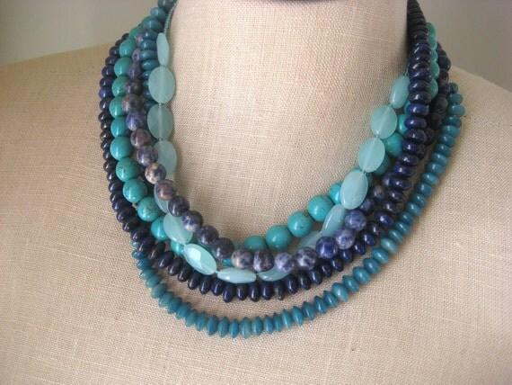 Blue Tones Multi Strand  torsade necklace navy Teal Light Blue Turquoise Denim