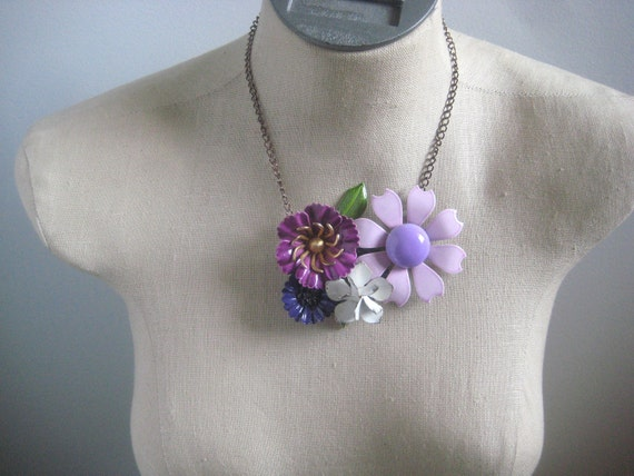 """Vintage Purple and Lavender Flower Power Vintage  Brooch Collage Necklace OOAK Upcycled """"Sweet Meadow"""""""