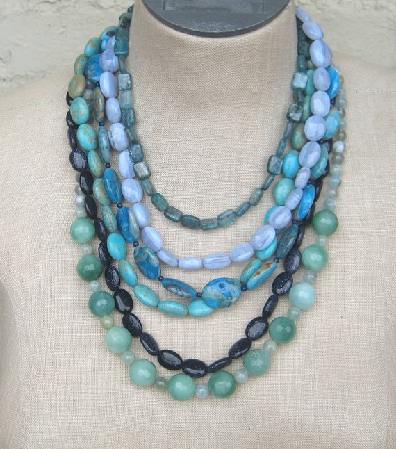 """Blue Navy Teal Turquoise  Aqua blue Shades multi strand  necklace """"L'Heure Bleue """""""
