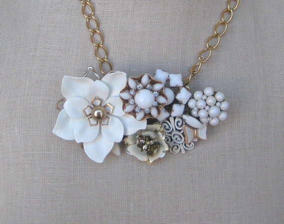 White Gold  Necklace Vintage Milk Glass Flower Brooch Collage Wedding  Enamel Shabby Chic Bouquet Bride Chunky Statement