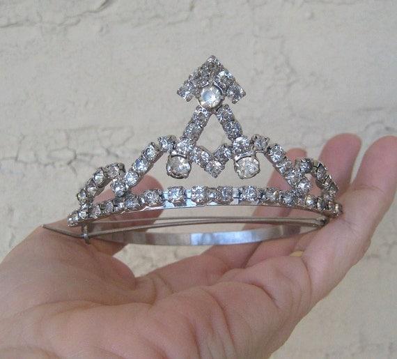 Vintage Rhinestone Tiara Hair Ornament  petite Updo Wedding Bride Crystal Bling Doll Child FlowerGirl