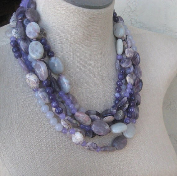 Purple lavender Amethyst Layered Sexy Multi Strand Necklace Choker Beaded Cape Amethsyt grey pink