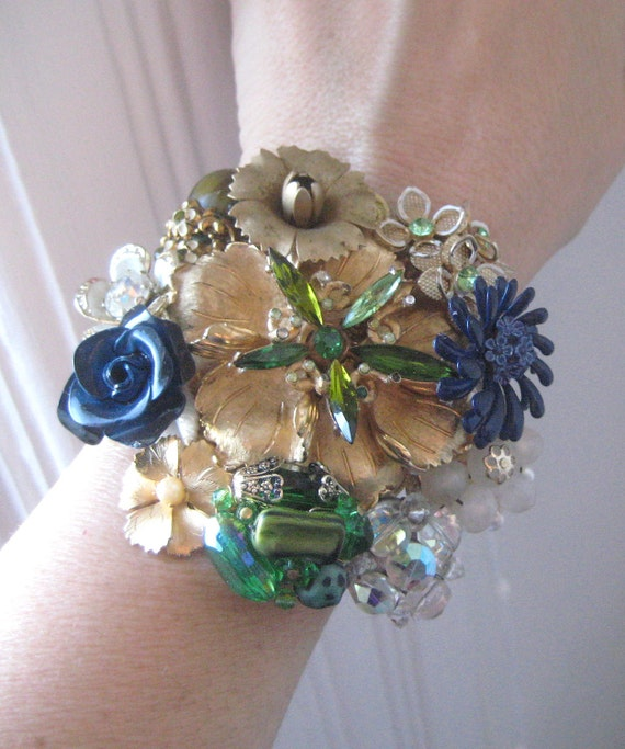 Vintage Brooch Wrist Corsage Cuff Bracelet Emerald peridot Navy Gold Brass OOAK shabby chic