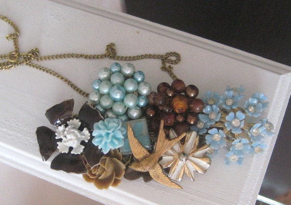 Blue brown Swallow Vintage brooch Collage Assemblage Necklace Shabby Chic pale Blue Bird Brass