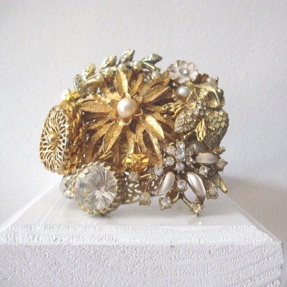 Vintage Brooch Cuff Bracelet Gold Baroque Pearl Rhinestone Owl Bee Wedding Adjustable Brass Wide OOAK shabby chic