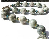 Necklace Pale Green Grey Stone with Turquoise Glass