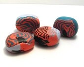Handmade Beads, Oval Nuggets, Pale Blue, Turquoise Pink and Black