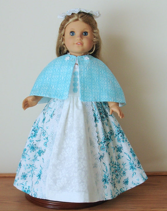 Teal and white floral Colonial Tea Gown Created for American Girl doll  Elizabeth or Felicity No.419