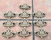 Set of 10 Antique Brass Chippendale Style Drawer Handles by Keeler Brass Co