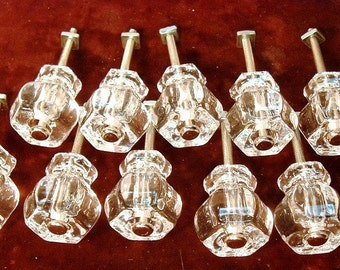 Group of 10 Clear Glass Knobs