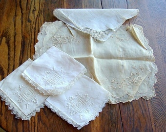 Group of Embroidered Napkins and Pillow Cover