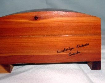 Cedar Wooden  Souvenir  Box From Cambridge Ontario