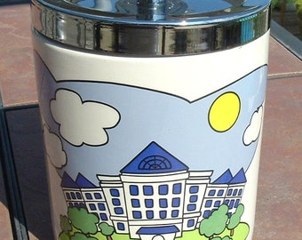 Vintage Blue School House Ceramic Cookie Jar