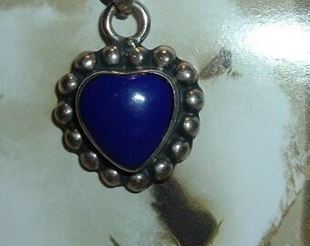 Vintage Mexican Blue Heart Stone Pendant