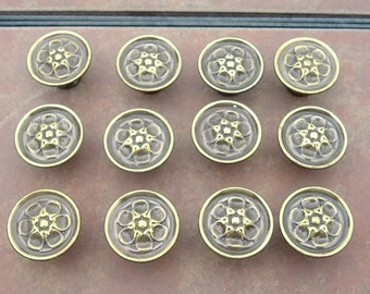 Set of 12  Antiqued   Brass   Drawer Knobs
