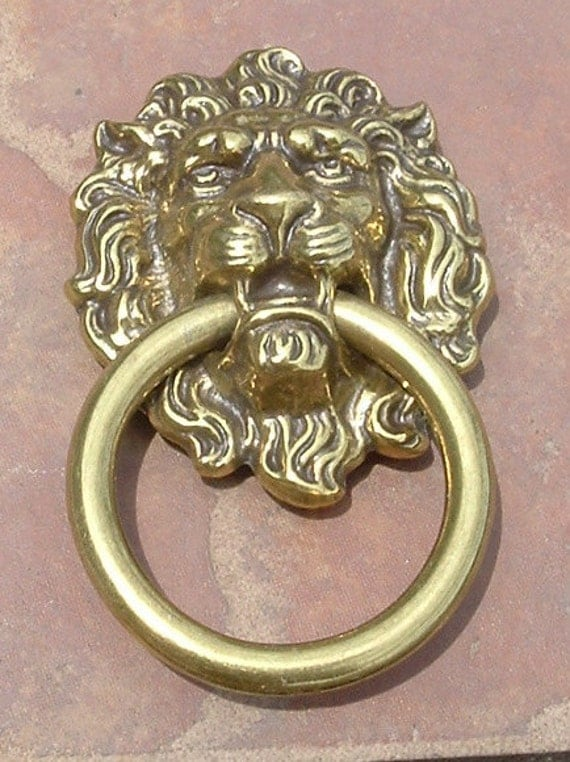 Large Solid Brass Antiqued Lions Head Drawer Pulls