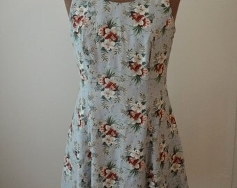 Vintage 1990's Blue Floral Minidress