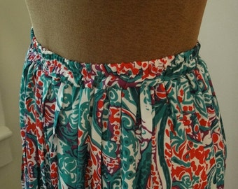 Vintage 1980's Abstract Paisley Pleated Skirt