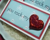 You Rock My Heart Valentines Day Mini Note Cards Set of 6 WITH Envelopes