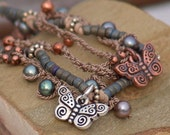 Multi Strand Butterfly Necklace Symphony Of Butterflies -Mixed Metal Copper Silver Nature Pearl Boho Adjustable