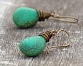 Gemstone Teardrop Earrings Sea Green -Wire Dangle Magnesite Brass