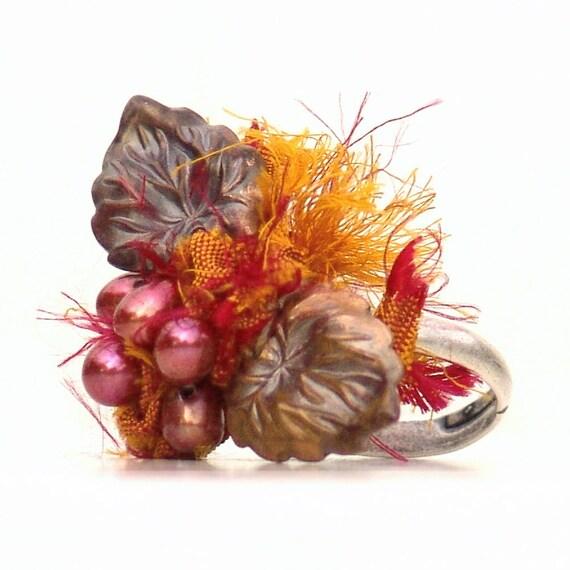Leaf Ring Autumn Harvest -Adjustable Pumpkin Orange Leaves Berries Red Pearls Metal Silver