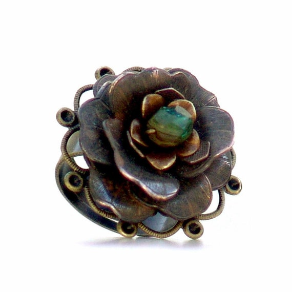 Rusty Black Flower Statement Ring -Metal Flower Adjustable Brass Green