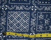 Vintage Navy Blue Heavyweight Cotton Fabric Funky Squares