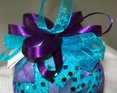 Purple and Aqua Quitled Christmas Ornament  FREE SHIPPING