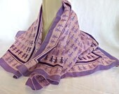 Vintage VERA Silk Scarf, Pink and Purple, Tribal Design, Signed Designer Scarf, Vera Neumann