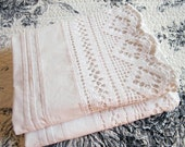 Vintage White Pillowcase, Long Crisp Pair Pillowcases, Tucks and Crocheted Lace Trim, Vintage Victorian Bedding