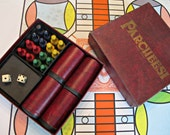 Vintage Parcheesi Board Game with Wooden Playing Pieces and Dice