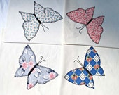 Blanket Stitched Butterfly, Embroidery, Hand Appliqued, Four Butterfly Quilt Blocks Pink Gray Blue