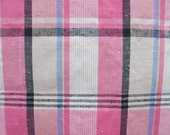 Vintage Fabric, Pink 60s Plaid, Dress Weight Fabric, Sewing Supplies, One Yard Length