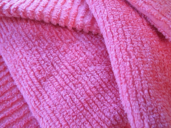 RESERVED Hot Pink Chenille Remnant 9 x 8 inches