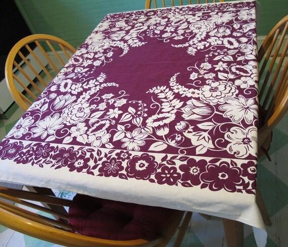 Vintage 50s Tablecloth, Purple Plum Amethyst Cotton, Mid Century Kitchen Linen