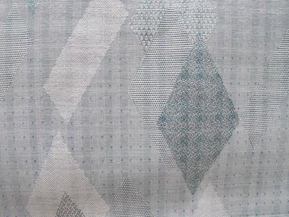 Vintage Fabric, Aqua 50s Modern, Drapery Upholstery Fabric, Aqua Silver