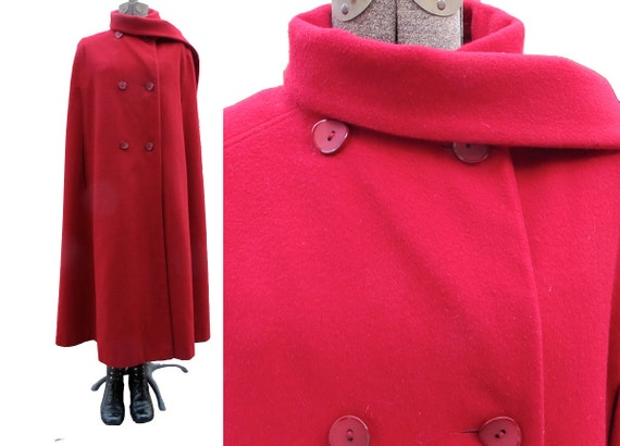 Vintage Red wool Cape Long Fully Lined Classic