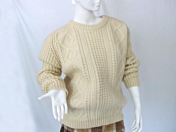 Irish Wool Sweater, Gaeltarra Pure Irish Wool, Cable Knit, Pullover Sweater, Vintage Knit