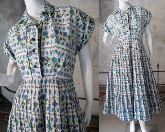 RESERVED for ROBIN Cotton 50s Day Dress, 60s Summer Dress, Vintage Mid Century Dress, Full Skirt, Button Detail, Size 8, Size 10