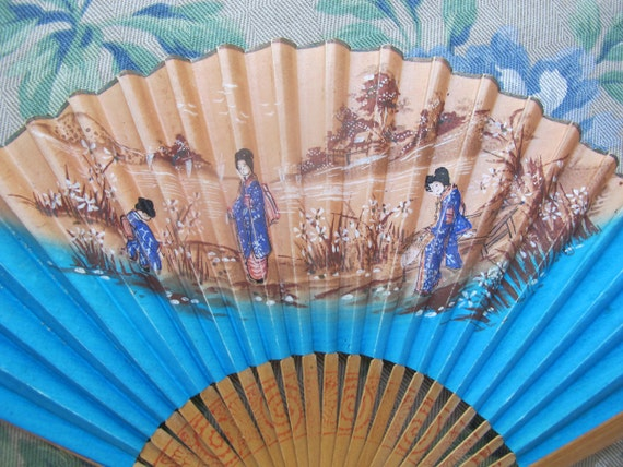 Vintage Japanese Fan, Bamboo Hand Fan, Hand Painted Folding, Geisha Girls