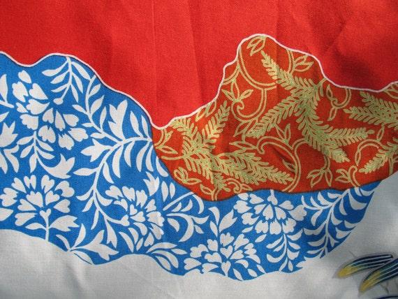 Japanese Landscape Fabric, Vintage 70s Tori Richard Cotton Rayon Blend, Hawaiian Print