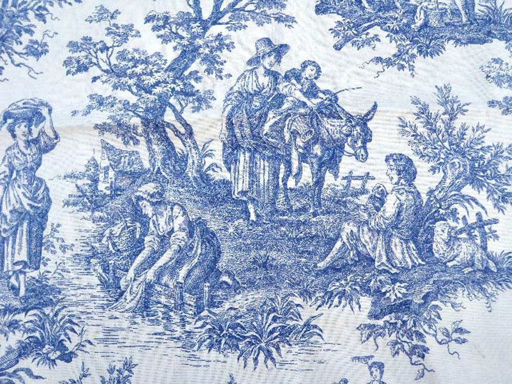 Waverly Country Life Blue Toile Drapery Fabric